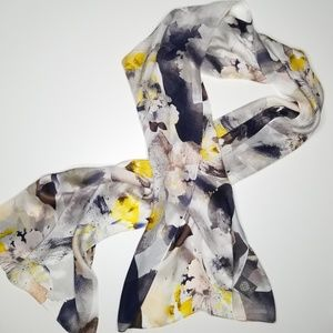 Vince Camuto Silk Floral Water Color Scarf